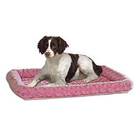 Dog on Pink Fashion Bed
