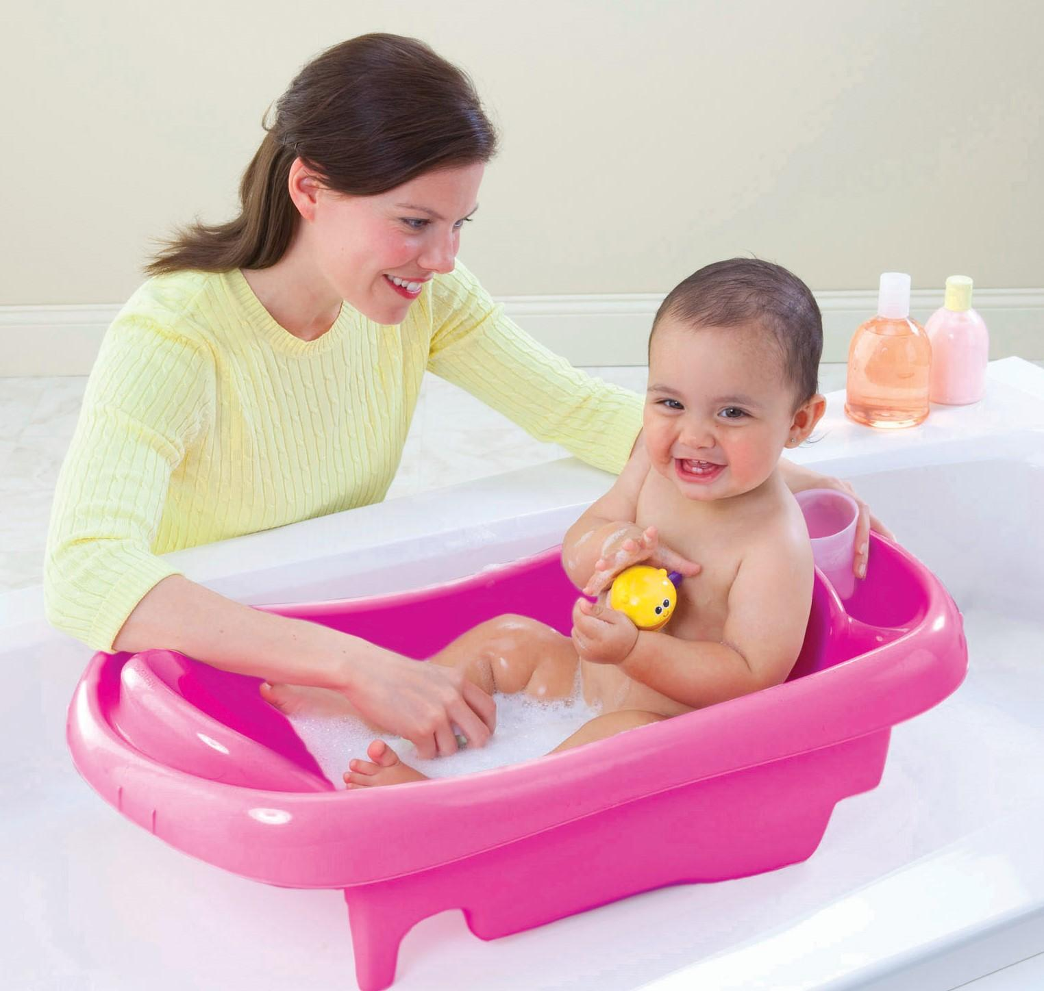 the first years sure comfort deluxe newborn to toddler tub pink ebay. Black Bedroom Furniture Sets. Home Design Ideas