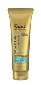 Suave Professionals Moroccan Infusion Shine Mask intensely moisturizes hair to improve hair texture