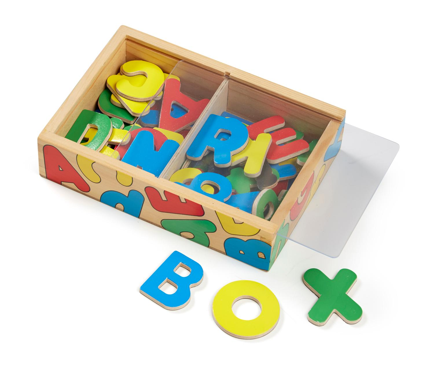 Alphabet Learning Toys : Amazon melissa doug wooden alphabet magnets in a