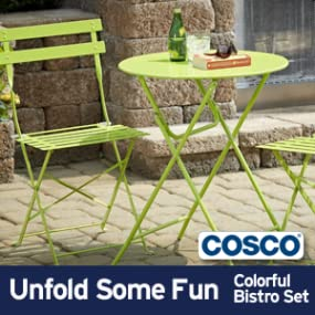 Amazon Com Cosco 3 Piece Folding Bistro Style Patio Table