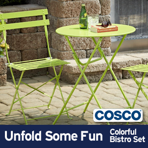 metal folding bistro table and chair set & Amazon.com: Cosco 3-Piece Folding Bistro-Style Patio Table and ...