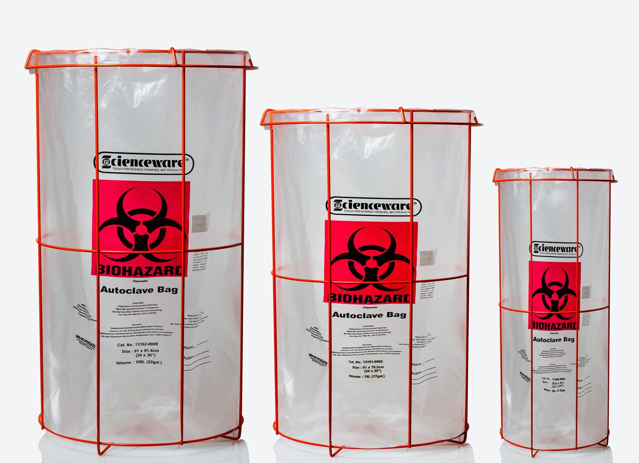 Bel Art Clavies Biohazard Bag Holder For 12w X 24 In H