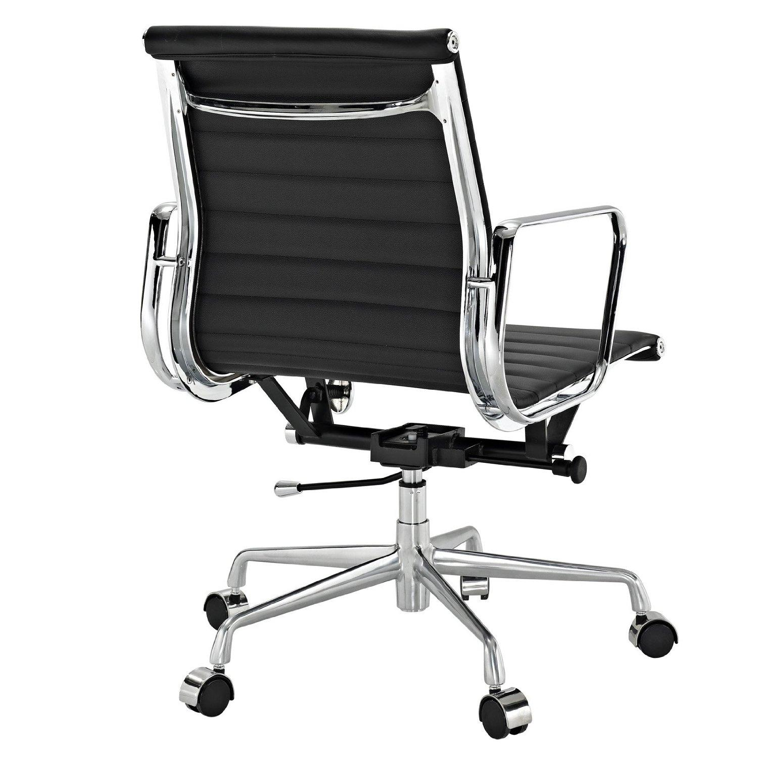Ribbed Mid Back Office Chair In Black Genuine