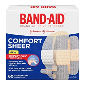 BAND-AID Brand Sheer Strips Adhesive Bandages, Assorted Sizes, 60 Count
