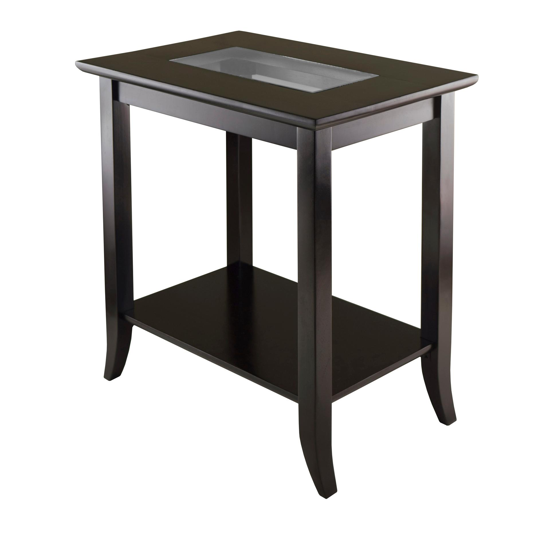 Winsome genoa rectangular end table with glass for Glass end tables