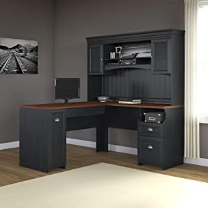 Amazoncom Fairview L Shaped Desk in Antique Black Kitchen Dining