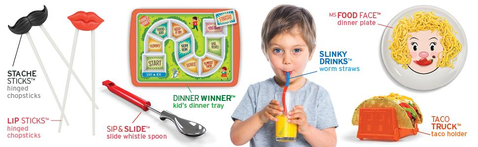 fred and friends, kids plates, kids utensils, kids plates, dinner plates, forks, spoons, straws, bib