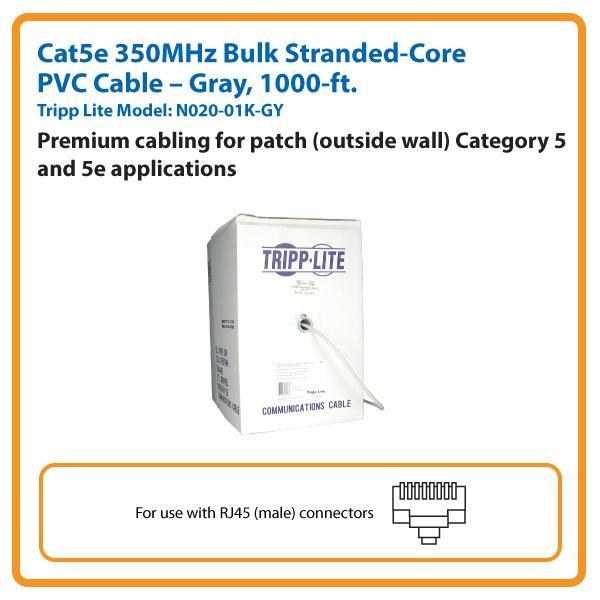 N022-01K-GY 1000 FT GRAY CAT5E 350MHZ BULK
