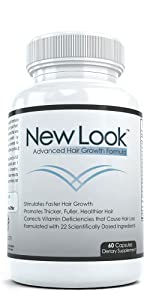 New Look Advanced Hair Growth Formula, Promotes Thicker, Fuller, Healthier Hair, Dietary Supplement
