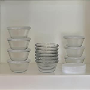 anchor hocking; custard cups; glass; prep; pinch bowl; mini; baking; storage; stacking; nesting