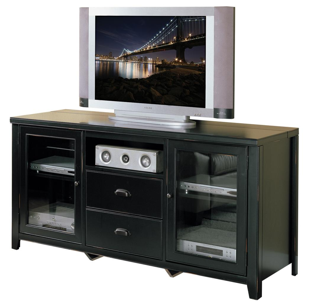 kathy ireland home by martin tribeca loft black tall tv stand fully assembled. Black Bedroom Furniture Sets. Home Design Ideas