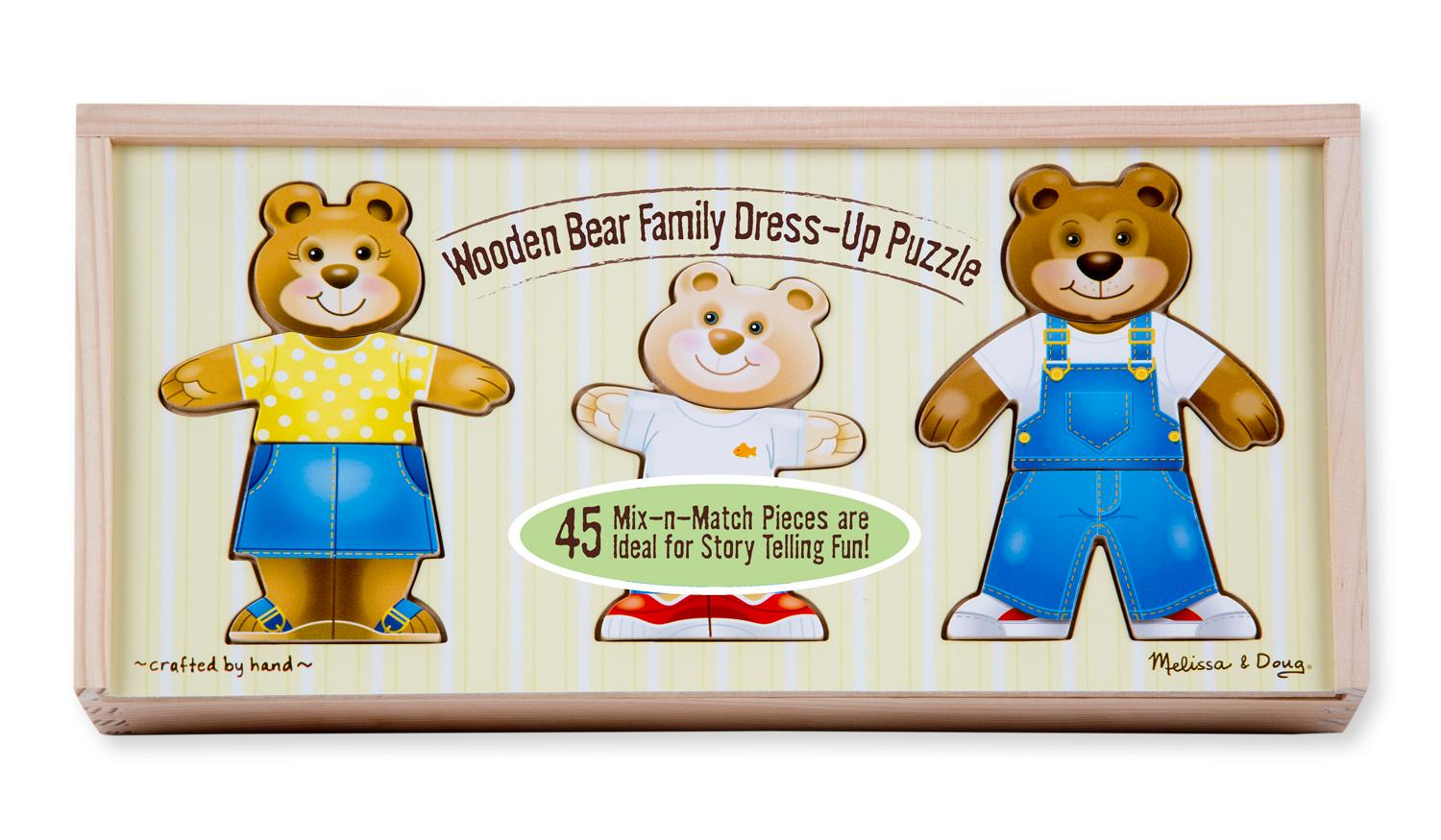 amazon com melissa u0026 doug mix u0027n match wooden bear family dress