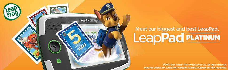 The animated picture of a fox leaping out of a LeapPad Platinum.