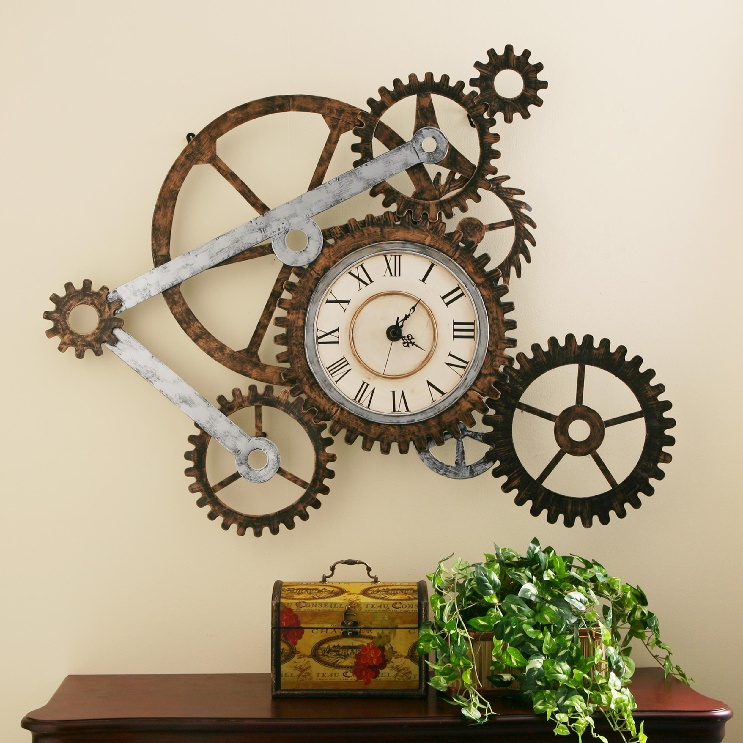 southern enterprises metal gear wall art clock. Black Bedroom Furniture Sets. Home Design Ideas