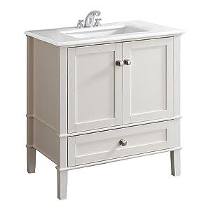 Simpli Home Chelsea 30 Bath Vanity with White Quartz Marble Top