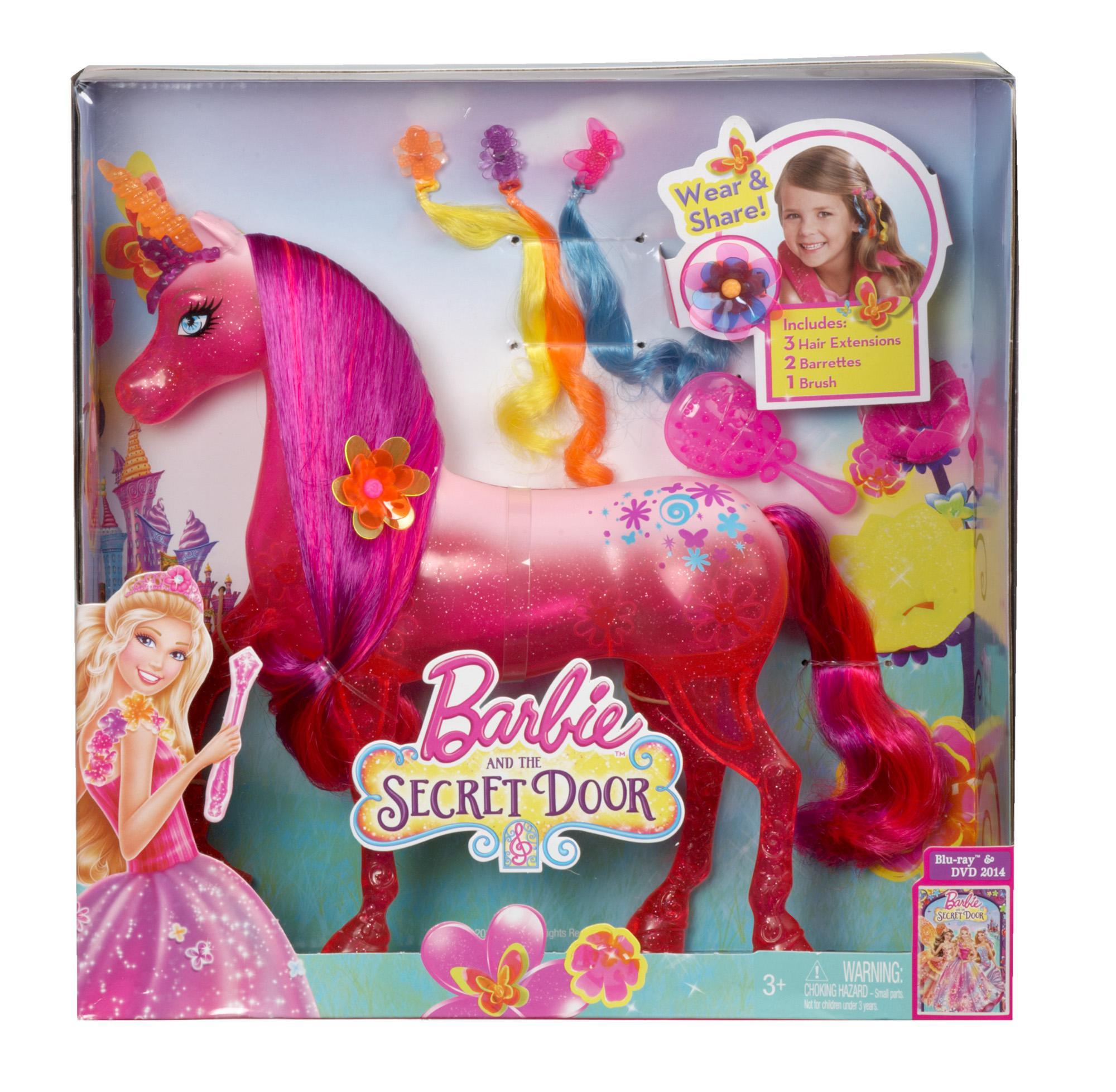 Barbie and the secret door pink unicorn doll - Barbie licorne ...
