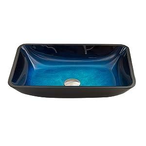 Vigo Rectangular Turquoise Water Glass Vessel Bathroom