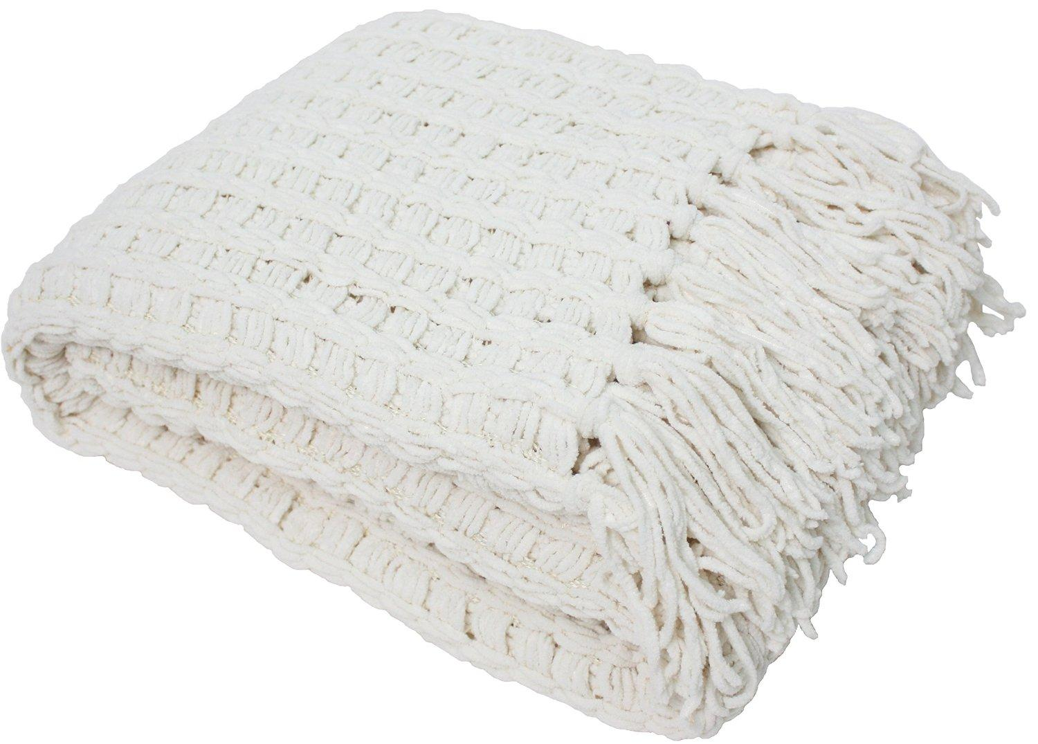 Amazon Com J Amp M Home Fashions Luxury Chenille Throw With