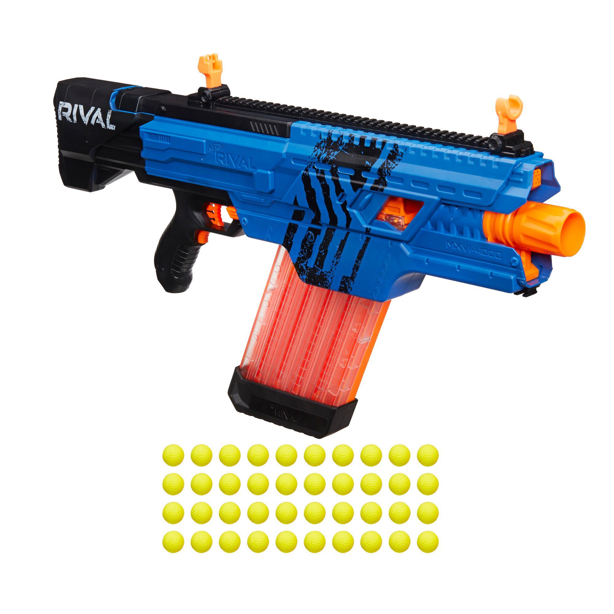 Nerf rival khaos mxvi 4000 blaster blue for Nerf motorized rapid fire blasting