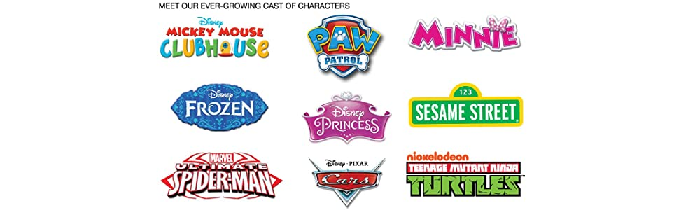 mickey, minnie, frozen, princess, spiderman, elmo, paw, patrol, ninja, turtles, cars, furniture