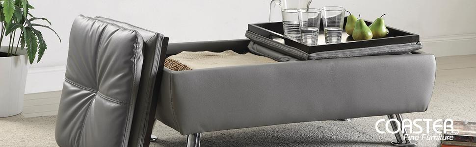 Amazoncom Coaster Storage Ottoman with Tufted Accents in Dark