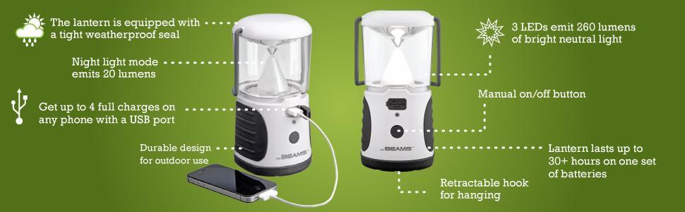 mr beams ultrabright lantern, battery lantern with USB port, battery powered led lantern