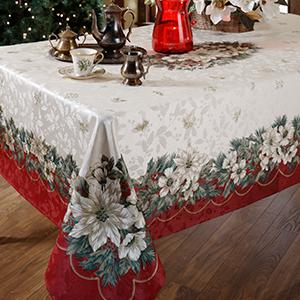 Christmas Ribbon Engineered Border Tablecloth