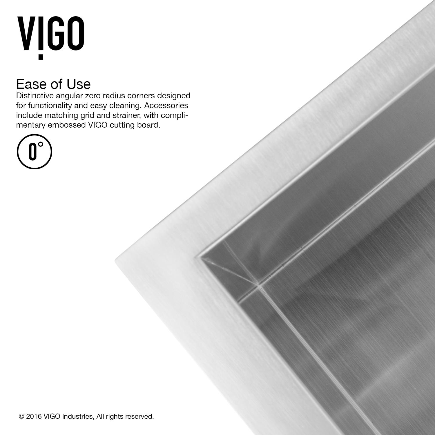 VIGO 30 inch Undermount Single Bowl 16 Gauge Stainless