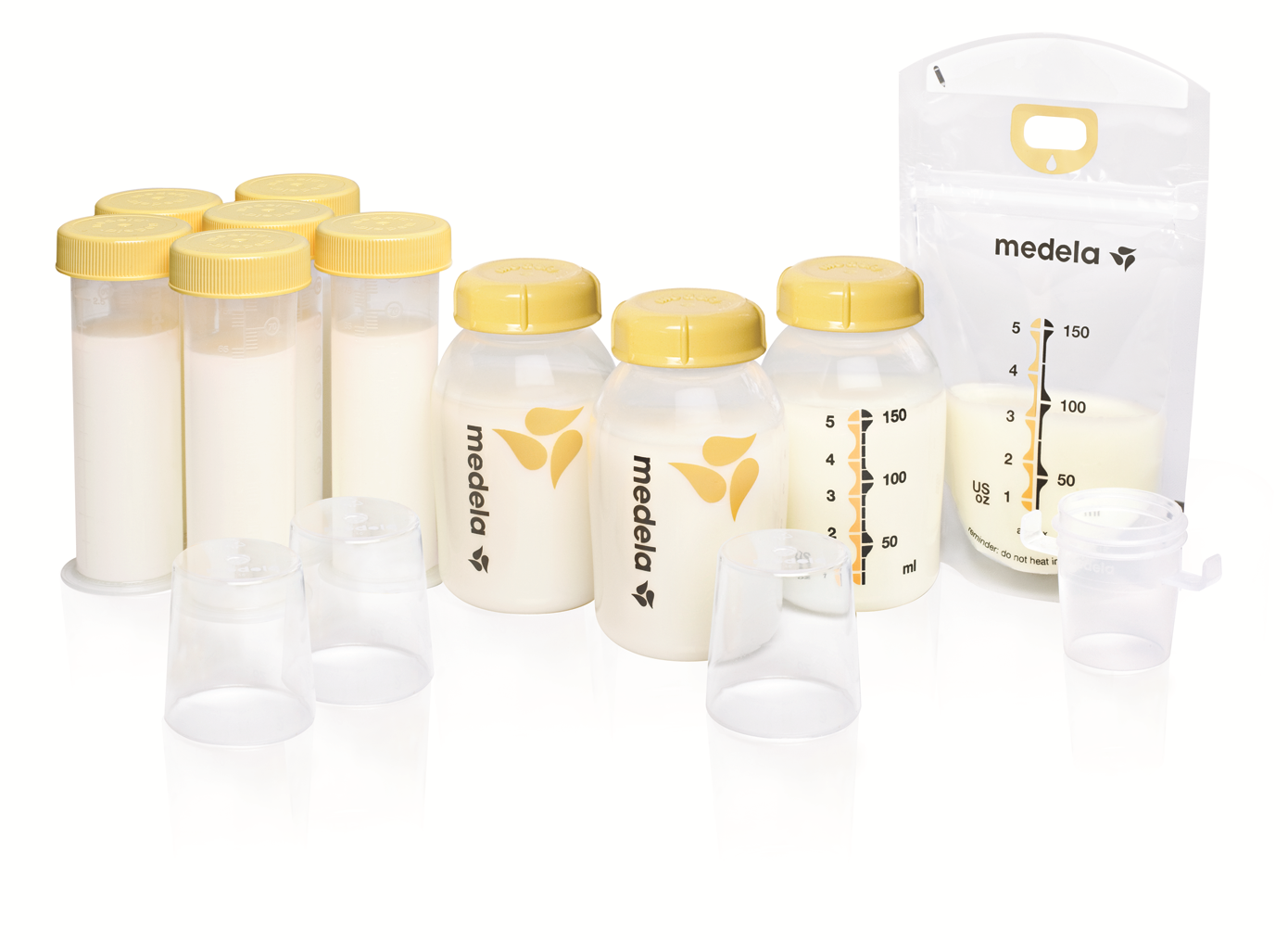 Medela breast milk feeding and storage set