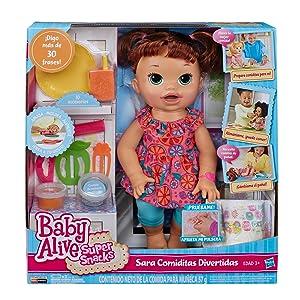 .com: Baby Alive Super Snacks Snackin' Sara Brunette: Toys & Games