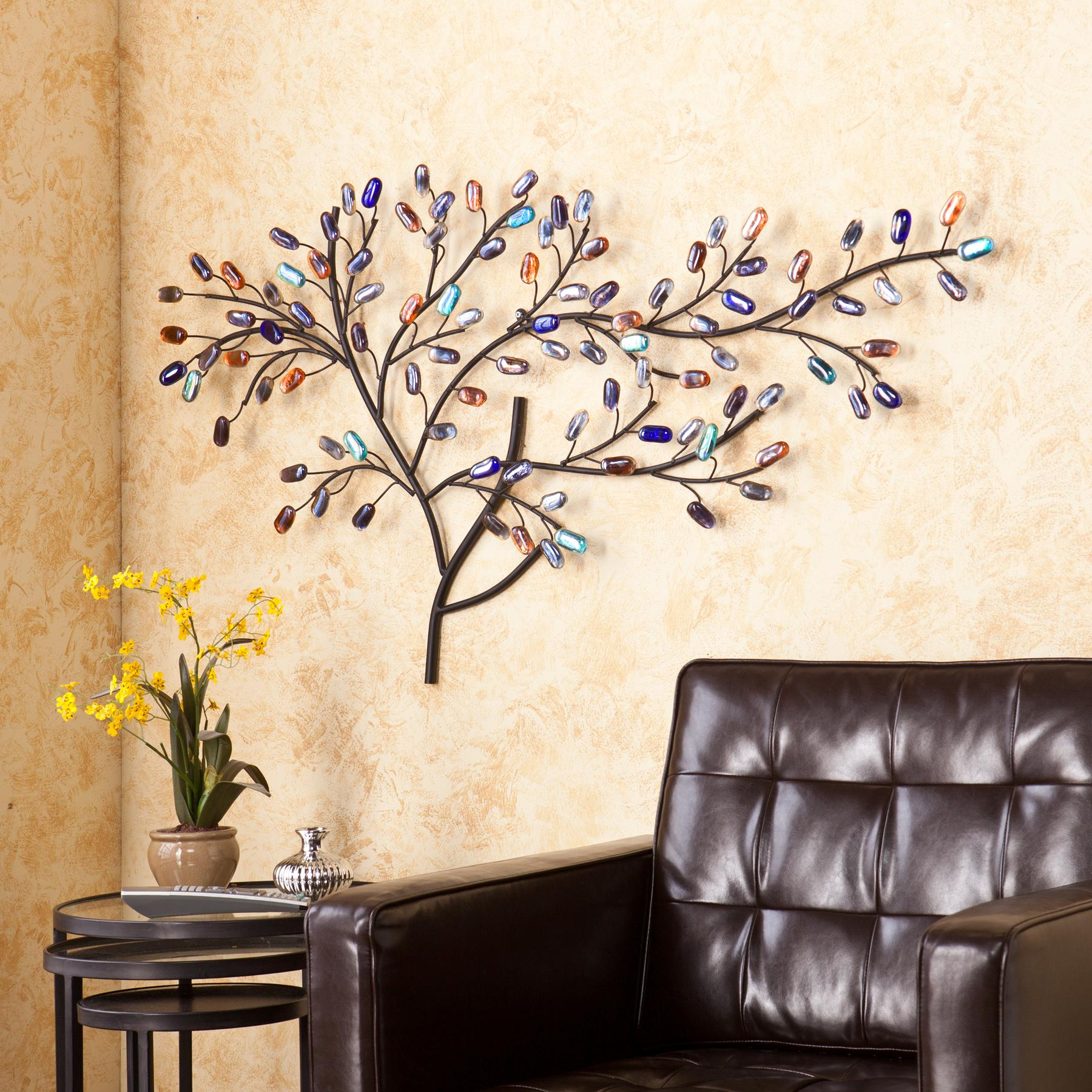 Brenchan metal glass tree wall sculpture home for Tree wall art