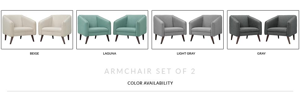 Amazon.com: LexMod EEI-2452-GRY-SET Slide Armchairs (Set of 2), Gray