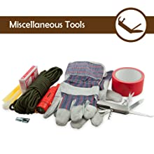 emergency preparedness readiness kit disastertools gloves tape rope knife compass