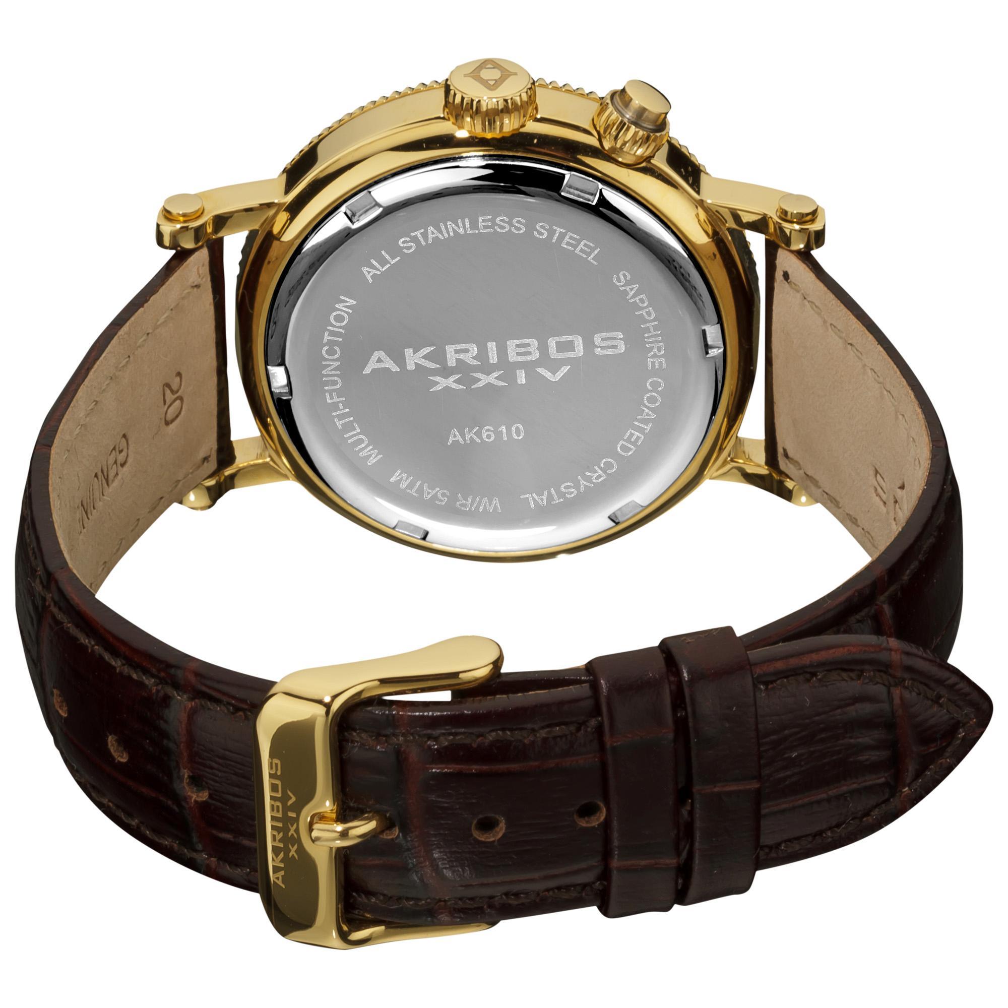 Akribos Xxiv S Ak610br Ultimate Multi Function Swiss Www Ak573rg Quartz Men Gold