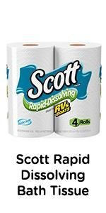 Scott Rapid Dissolving Toilet Tissue - Single ply toilet paper, great for RV boat or septic system.