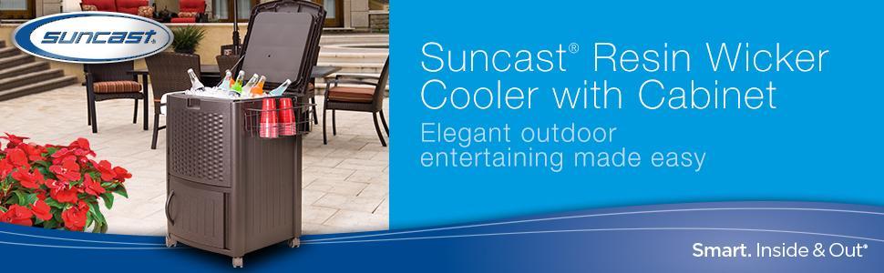 Amazon Com Suncast Resin Wicker Outdoor Cooler With