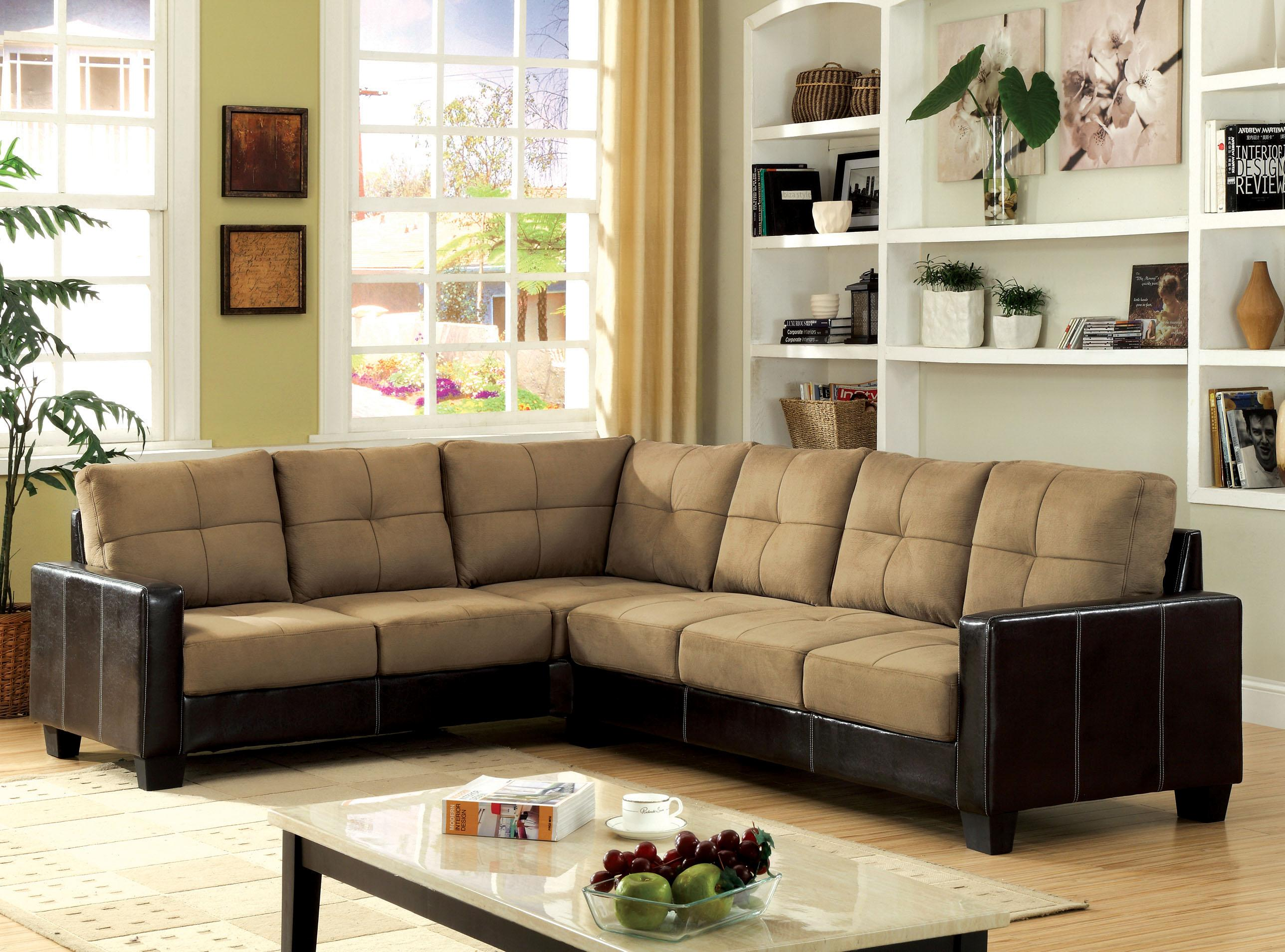 Furniture Of America Microfiber Upholstered Sectional Sofa In Taupe