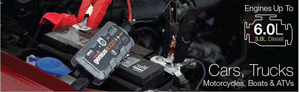jump starter, truck, car, motorcycle, atv, utv, lawn mower, tractor best lithium booster, safe