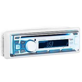 Multi-Color Illumination Detachable Front Panel BOSS Audio Systems MR762BRGB Marine Stereo AM FM Radio Bluetooth Audio Weatherproof Single Din Wireless Remote Aux in CD USB SD MP3 White