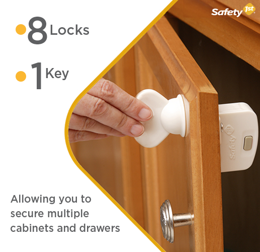 this set includes 8 locks and 1 key allowing you to secure multiple cabinets and drawers the magnetic key is easy to store high up and out of reach from