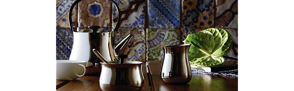 Cha, teapot, kettle, creamer, sugar bowl, stainless steel