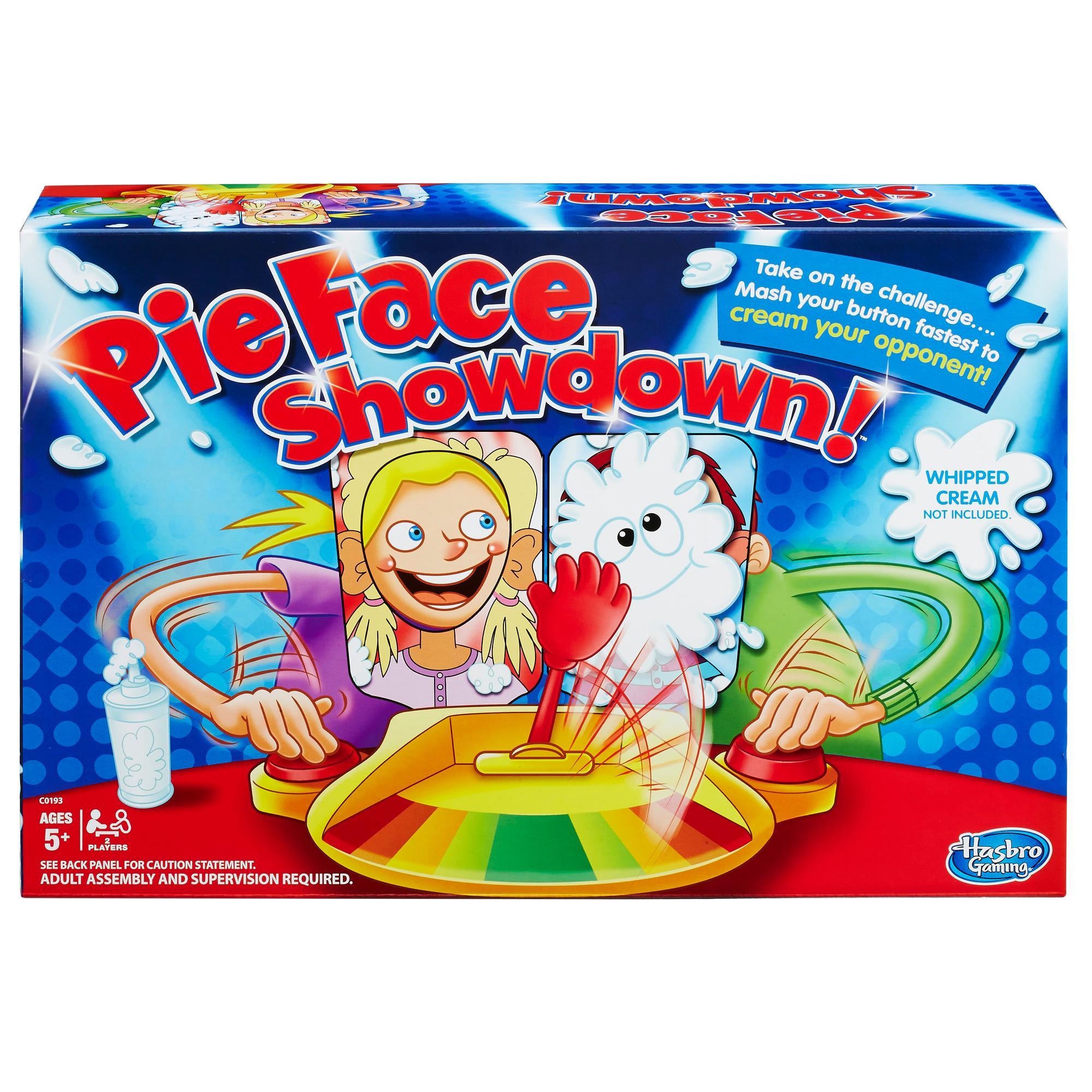 Includes 1 pie thrower, 1 throwing arm, 2 chin rests, 2 splash-card