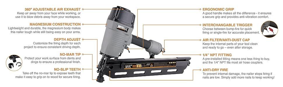 depth adjust, no-mar, toe-nail, bump fire, single, sequential, lightweight, air filter, nail gun
