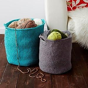 Bernat Stash Basket; handmade yarn basket;handmade basket
