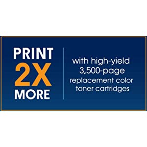 Optional high-yield replacement toners print 2x more than standard-yield toners. (footnote 3)