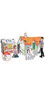6 in 1 Paper Cardboard Playhouse Play House