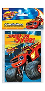 Blaze And The Monster Machines Plastic Tablecloth 84 X 54 Party Invitations 8ct Goodie