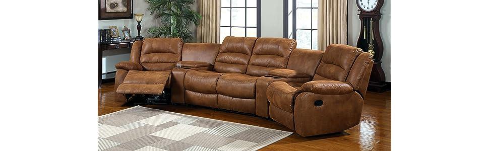 Amazoncom Furniture of America Camden 4Piece Sectional Sofa