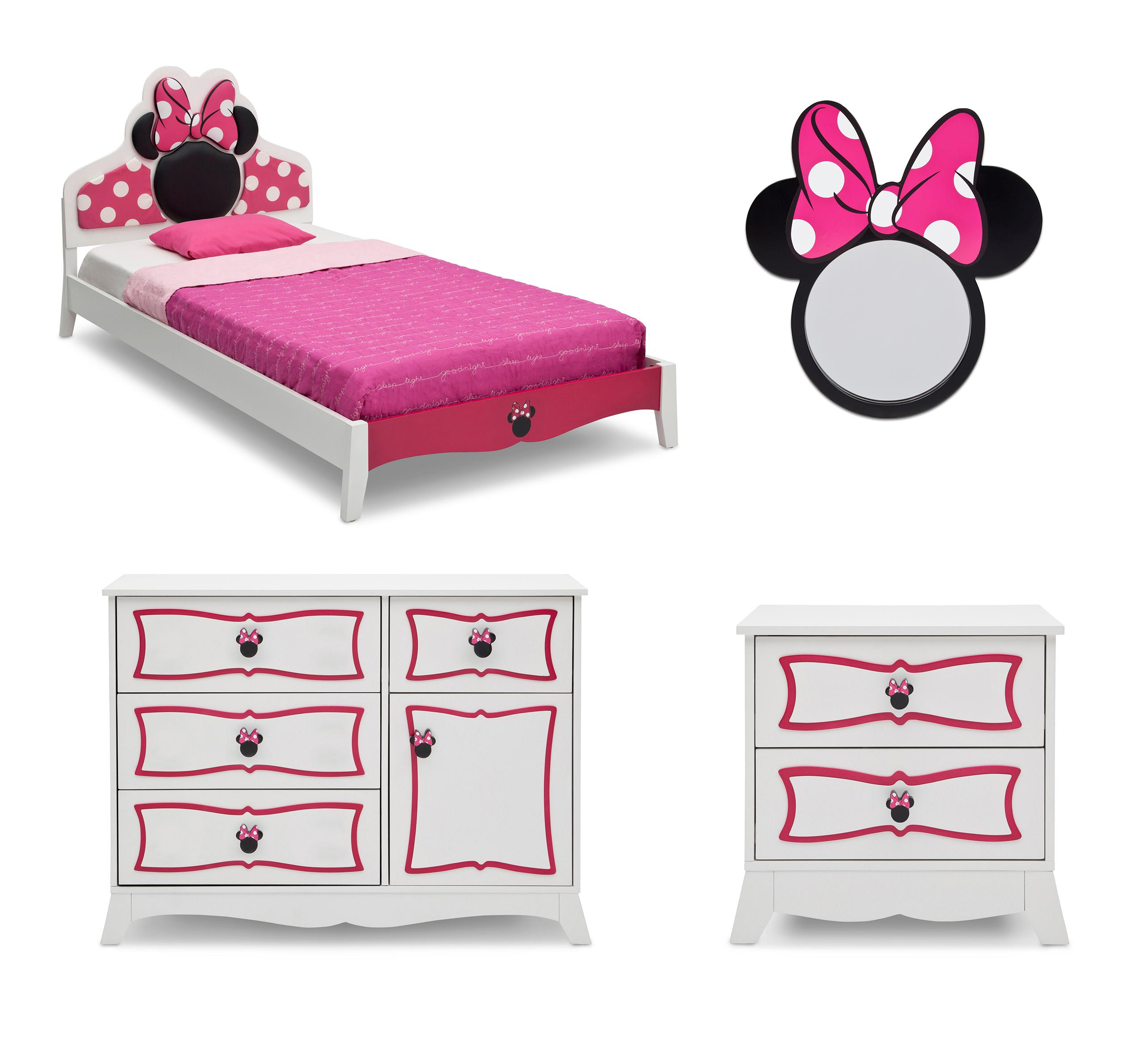 Minnie, Mouse, Disney, Bedroom, Set, Twin, Bed, Kids,